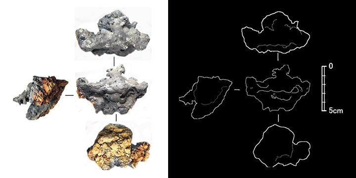 (5)炉底塊内鉄粒 生成物の名称: 鉄塊・鉄粒、生成位置: 炉底塊内部... 古代・褐鉄鉱製錬